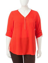 Zac & Rachel Plus-size Zip Woven Top