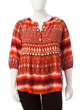 Zac & Rachel Plus-size Mixed Stripe Print Top