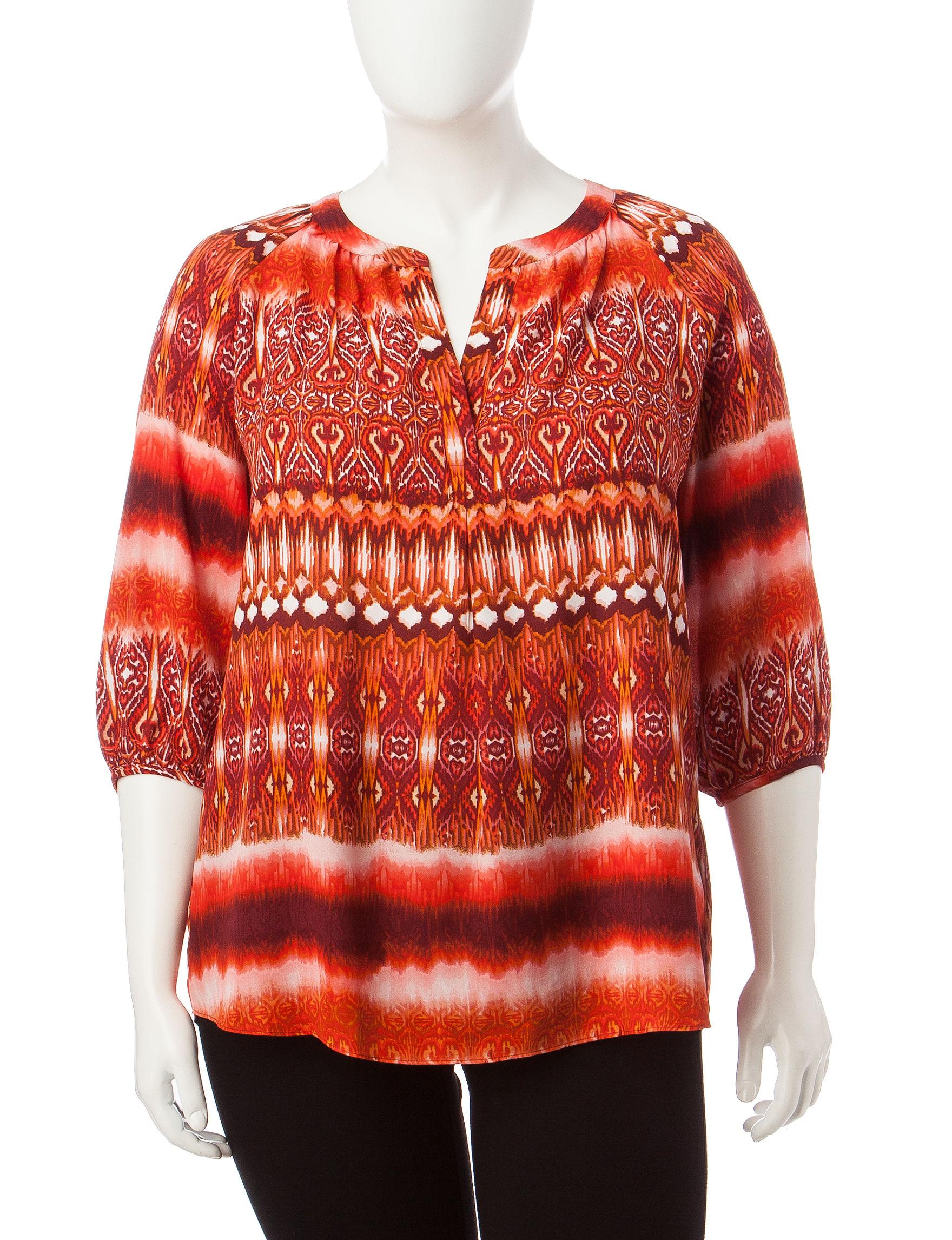 Zac & Rachel Orange Multi Shirts & Blouses