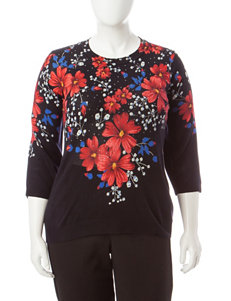 Rebecca Malone Plus-size Floral Print Bling Sweater