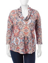 Signature Studio Plus-size Tile Print Top