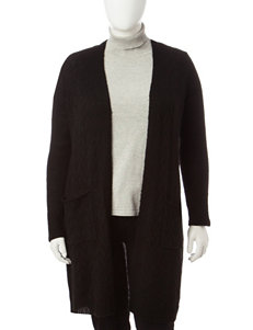 Signature Studio Plus-size Cable Knit Scarf Cardigan