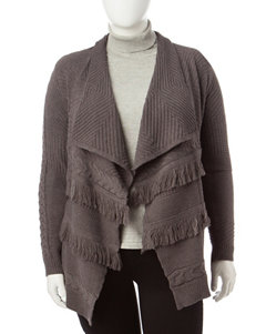 Signature Studio Plus-size Cable Knit Fringe Cardigan