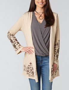 Democracy Plus-size Ombre Scroll Knit Cardigan