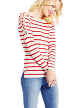 Jessica Simpson Plus-size Striped Print Bodycon Knit Top