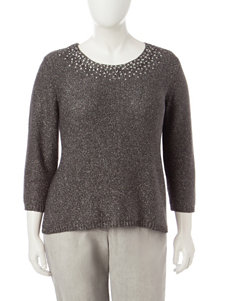Ruby Road Plus-size Metallic Embellished Knit Top