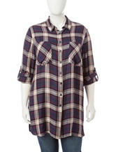 Hannah Plus-size Plaid Print Tunic Top