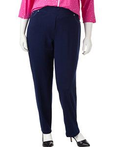 Cathy Daniels Plus-size Faux Leather & Rhinestone Pants