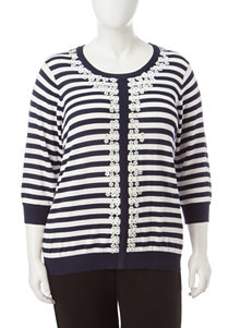 Cathy Daniels Plus-size Striped Sweater