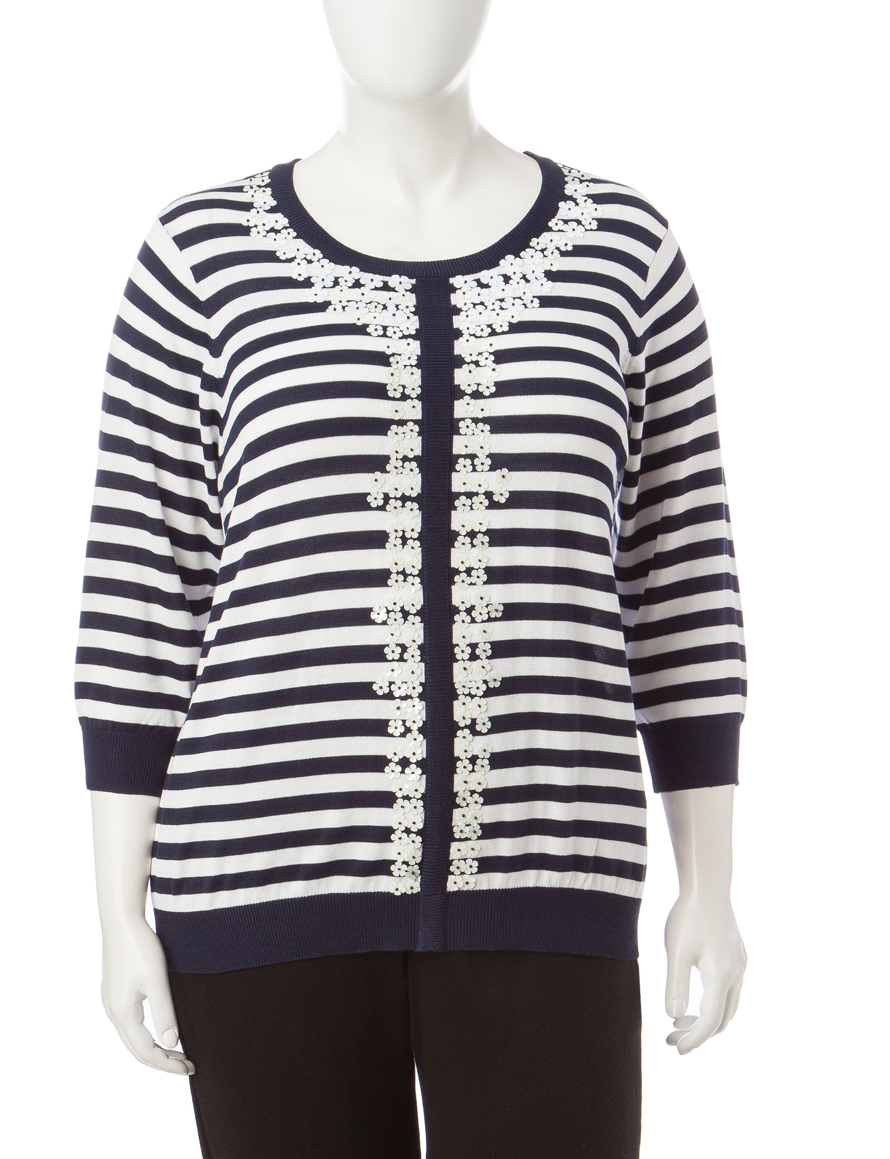 Cathy Daniels Navy / White Pull-overs Sweaters