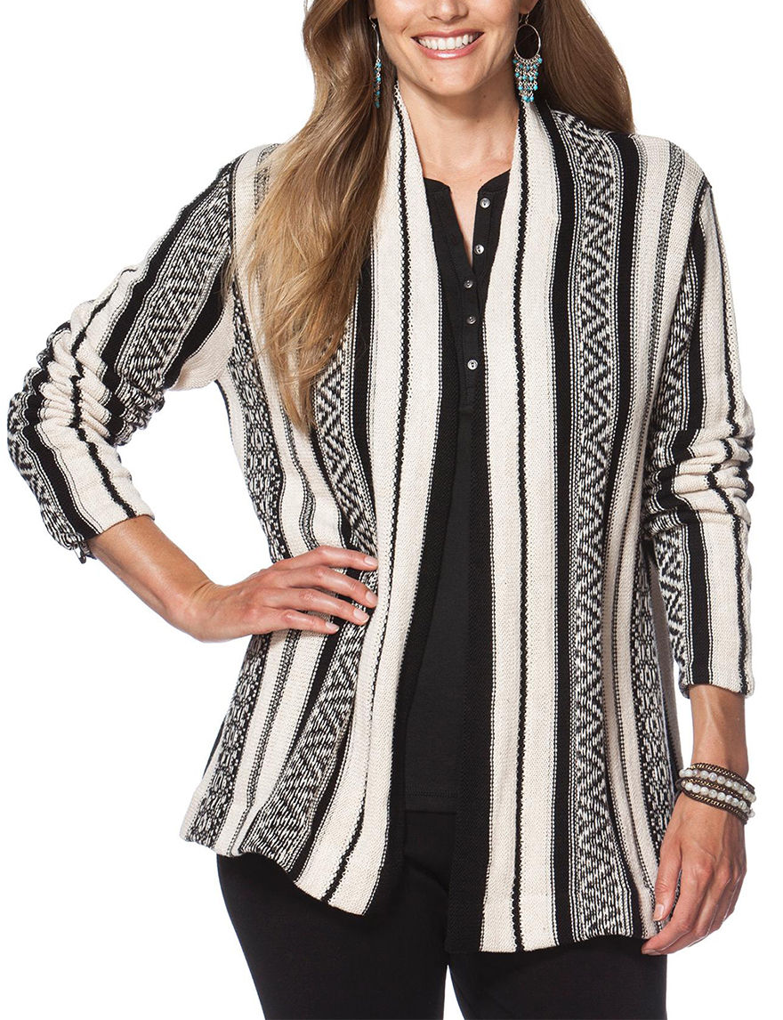 Chaps Black / White Pull-overs Sweaters