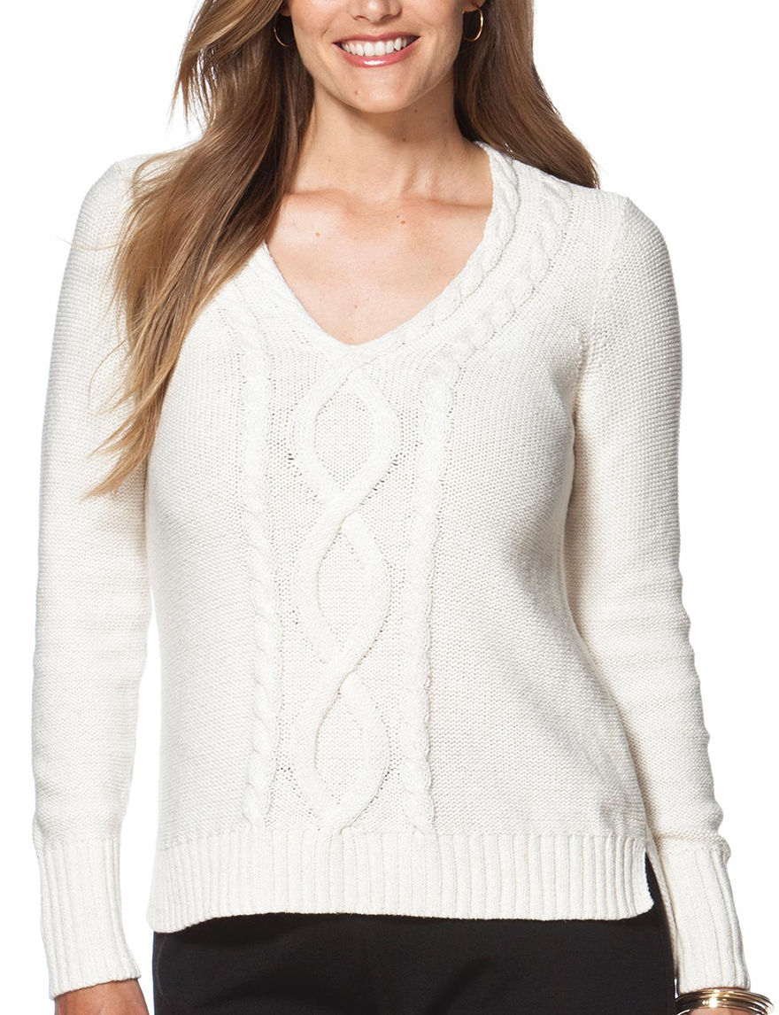 Chaps White Pull-overs Sweaters