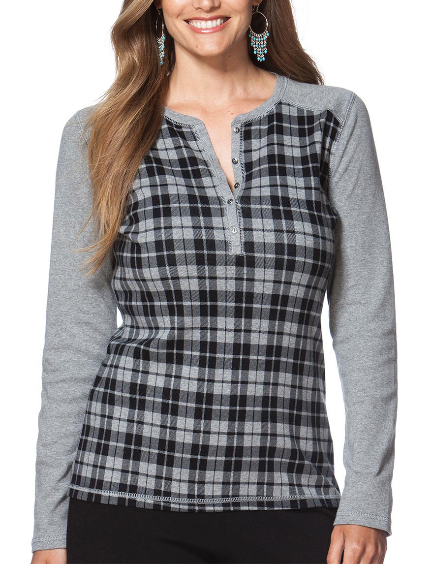 Chaps Heather Grey Shirts & Blouses