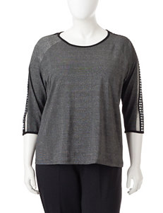 Cathy Daniels Black / Silver Shirts & Blouses