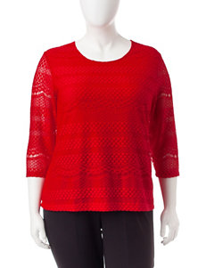 Cathy Daniels Plus-size Red Lace Top