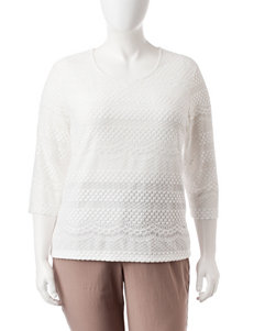 Cathy Daniels Plus-size White Lace Pullover Top