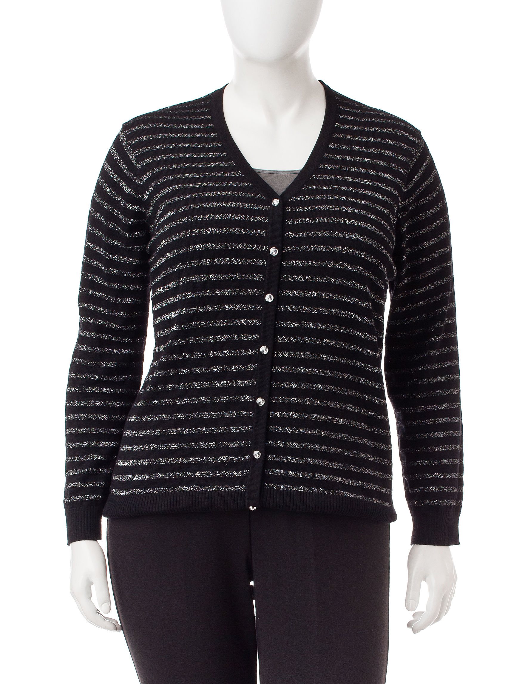 Cathy Daniels Black / Silver Cardigans Sweaters