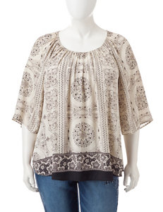 Signature Studio Plus-size Abstract Print Top