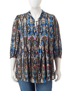 Signature Studio Plus-size Boho Print Top