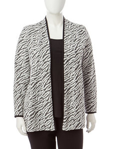 Rebecca Malone Plus-size Zebra Jacquard Knit Layered-Look Top