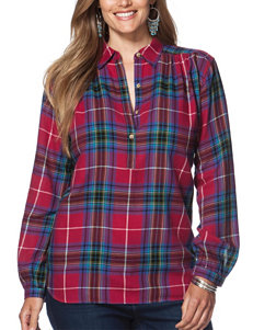 Chaps Plus-size Twill Plaid Popover Top