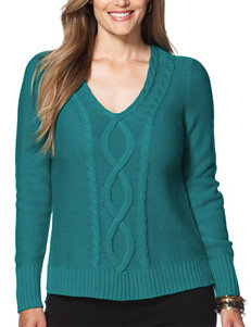 Chaps Plus-size Cable Knit Turquoise Sweater