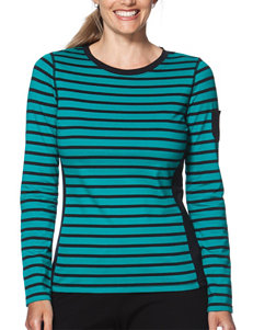 Chaps Plus-size Teal & Black Striped Print Knit Top
