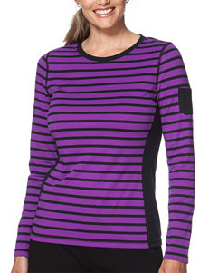 Chaps Plus-size Purple & Black Striped Print Knit Top