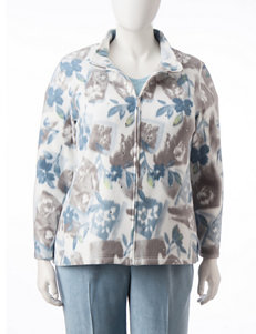 Alfred Dunner Plus-size Floral Print Fleece Jacket