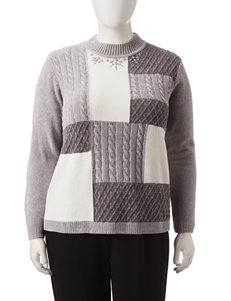Alfred Dunner Plus-size Color Block Chenille Sweater