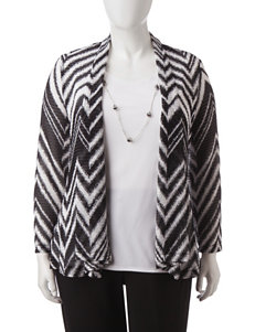 Alfred Dunner Plus-size Layered-look Chevron Print  Top