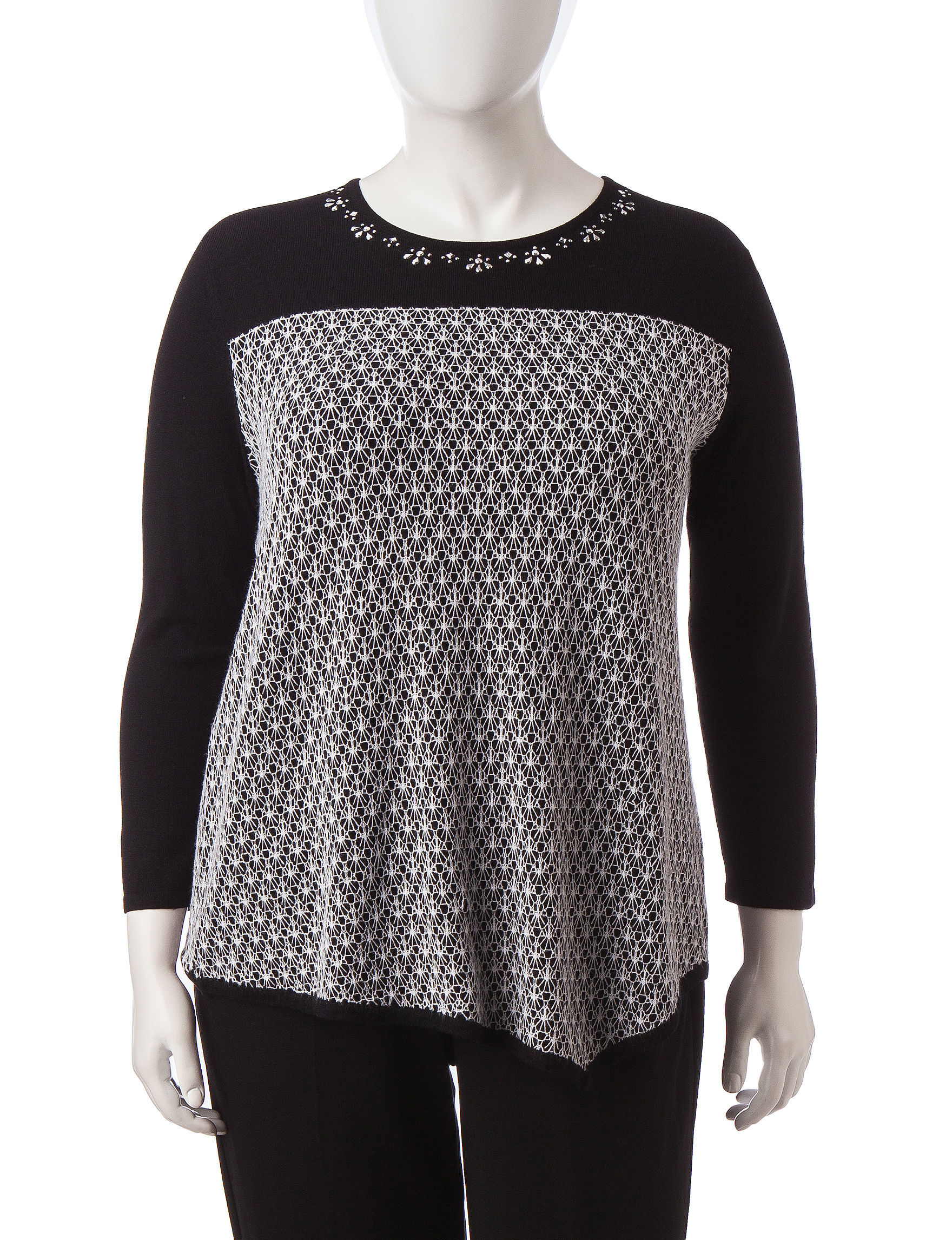 Alfred Dunner Black Sweaters