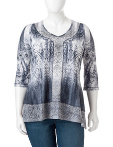 Energe Plus-size Mixed Print Top