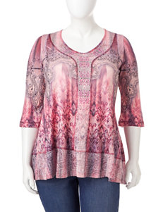 Energe Plus-size Tonal Pink Mixed Print Top