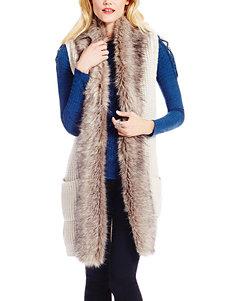Jessica Simpson Plus-size Faux Fur Trim Sweater Vest