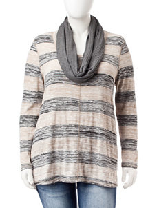 Signature Studio Plus-size Hi-Lo Striped Top with Scarf
