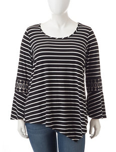 Hannah Plus-size Stripe Print Asymmetrical Top