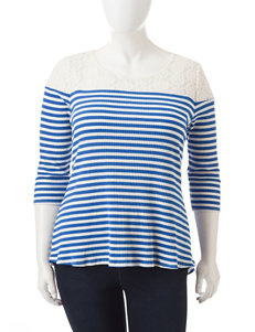 Hannah Plus-size Lace Yoke Striped Print Top