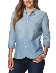 Chaps Plus-size Light Ombre Chambray Top