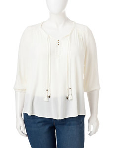 Energe Plus-size Solid Color Tassel Accented Blouse