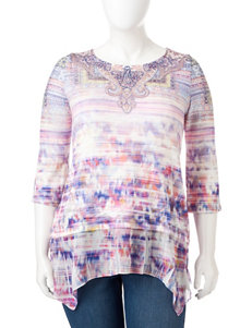 Energe Plus-size Blurred Mixed Print Asymmetrical Top