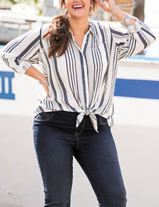 Hannah Plus-size Striped Print Tie Top