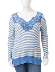 Signature Studio Plus-size Striped Lace Trim Top