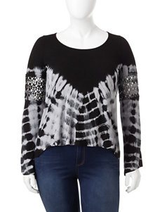 Jessica Simpson Plus-size Tie Dye Crochet Trim Top