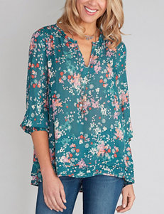 Democracy Plus-size Multicolor Floral Print Top