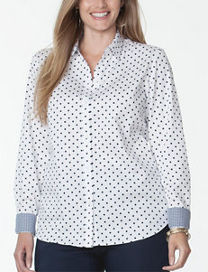 Chaps White / Navy Shirts & Blouses