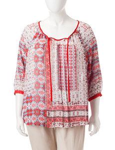 Zac & Rachel Red / Cream Shirts & Blouses