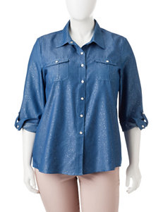 Cathy Daniels Plus-size Chambray Sparkle Top