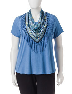 Energe Plus-size 2-pc. Top & Fringe Scarf Set