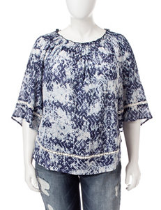 Hannah Plus-size Off the Shoulder Ikat Print Top